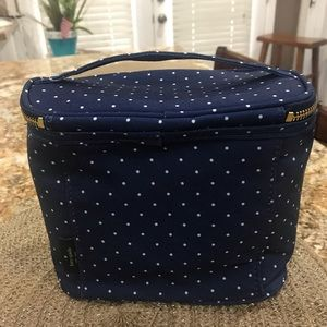 Kate Spade new lunch tote blue n white polka dots